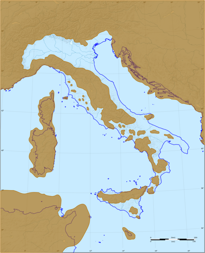 Map of Italy in the Miocene era