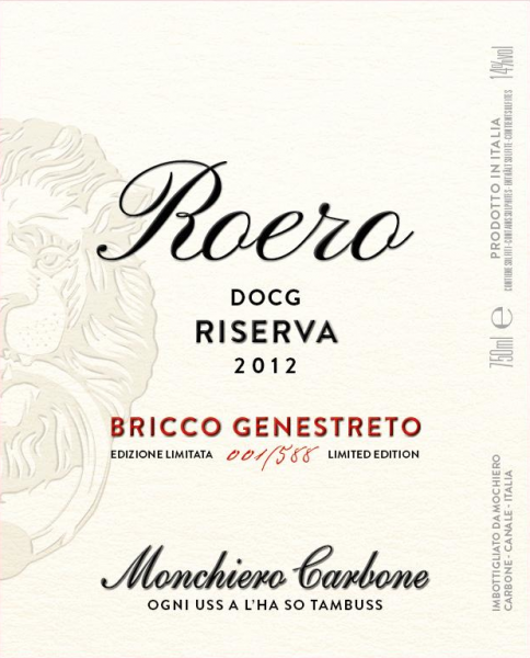 Bricco Genestreto 2012 label