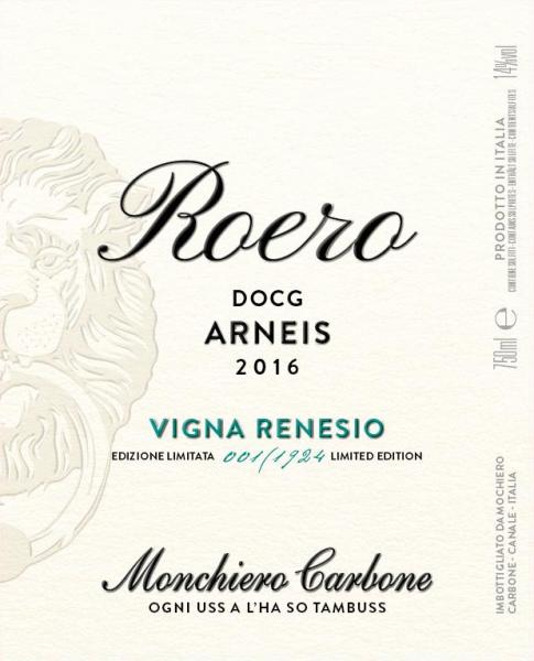 Renesio Incisa 2016 label